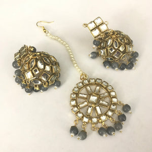 Jhumki & Tikka Set - Grey