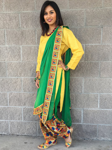 Phulkari Embroidery Suit- Green/yellow - Sarang