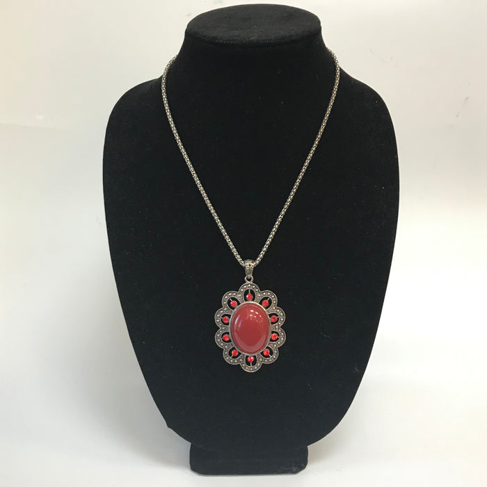 Silver Oxidized Pendant Necklace - Red