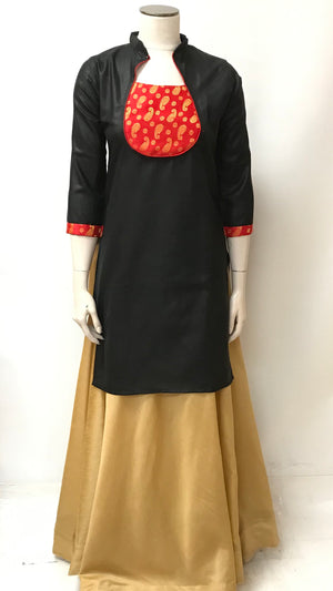 Silk Long Kurta - Black