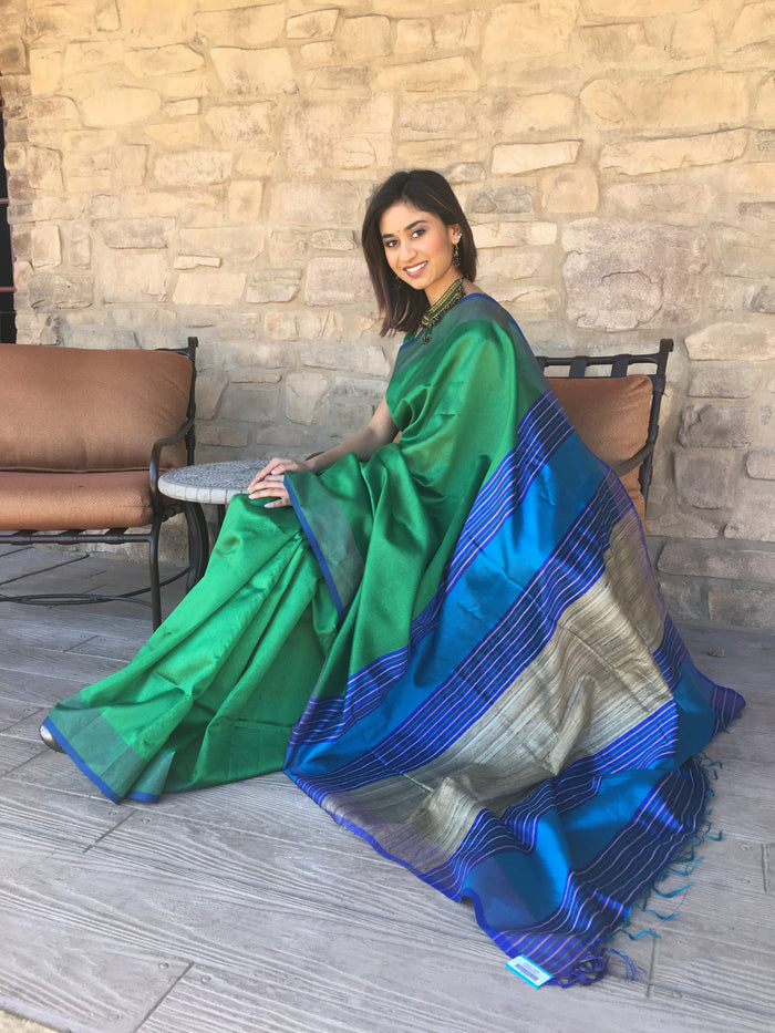 Handloom Silk Saree Green