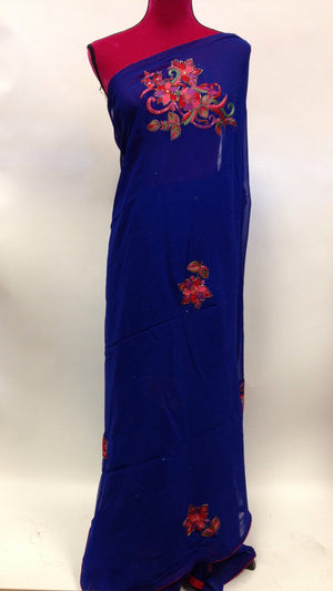 Hand Embroidered Georgette Saree - 4