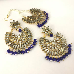 Kundan Earring and Tikka Set - Navy Blue