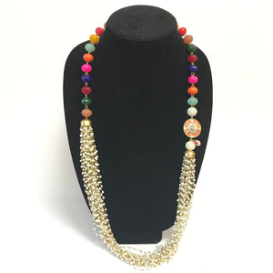 Rajasthani pedant and bead Necklace - Multi Color