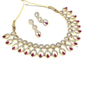 Semi Diamond Necklace Set - Pink