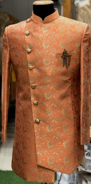 Men's Jaquard silk sherwani