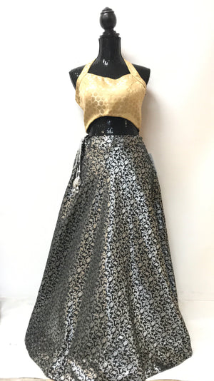 Brocade Silk Skirt - BLACK
