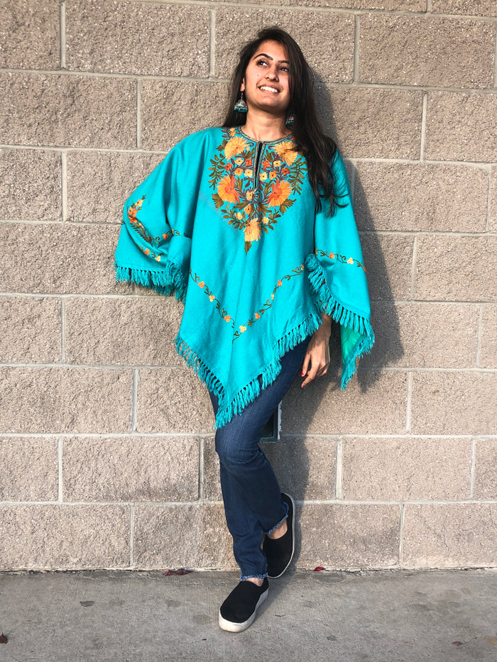 Kashmiri Hand Embroidered Poncho - Sea Green