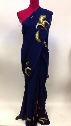 Hand Embroidered Georgette Saree - 1