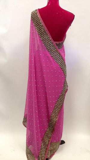 Embroidered Georgette Saree - 4