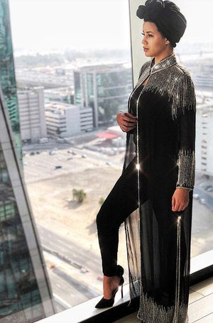 Beaded Long Drape/Jacket /Cape - (Black/Silver)