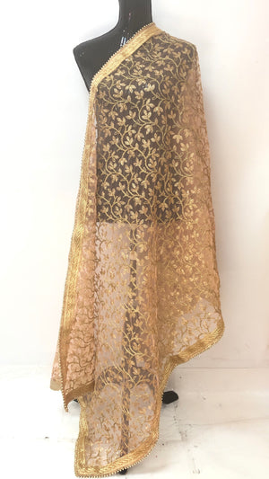 FULL ZARI WORK DUPATTA- LIGHT PINK