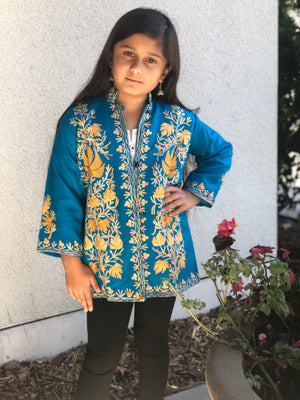 Kashmiri Embroidery Silk Jacket - Blue
