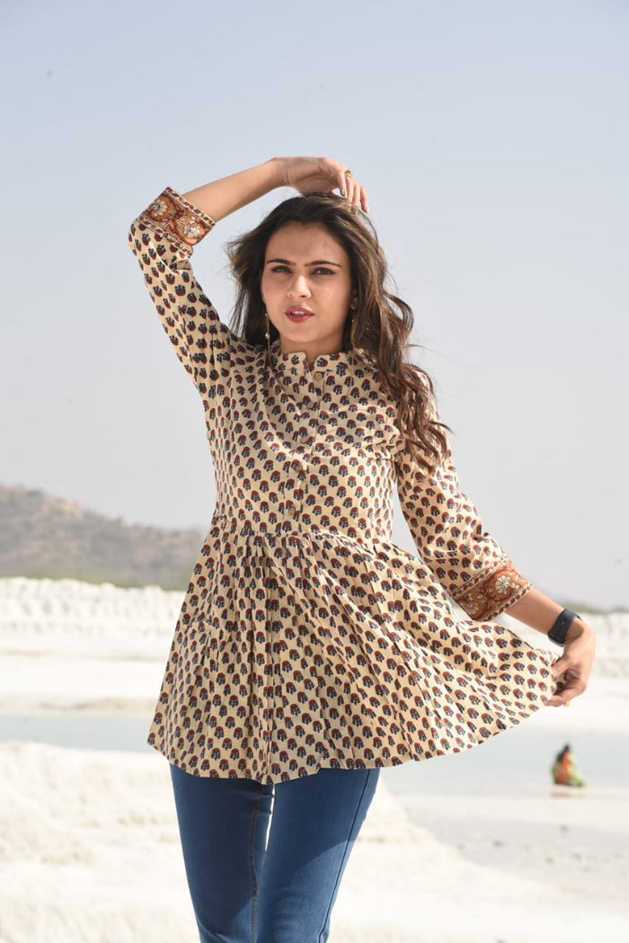 Cotton Block Print Top/Kurti
