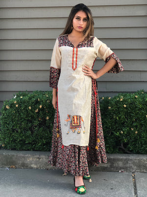 Kalamkari Long Layered Maxi Dress