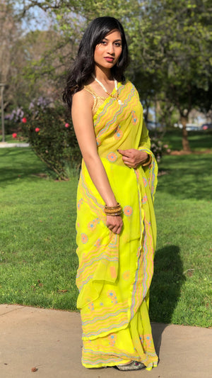 Georgette lucknowi Saree