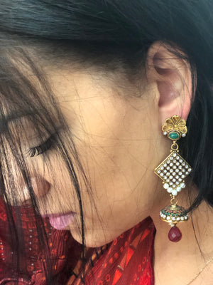 Stone Work Jhumki Long Earrings - Multi Color