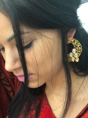Golden and white American stone studded ear cuffs