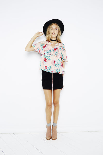Mink Pink Parade About Ruffle Blouse