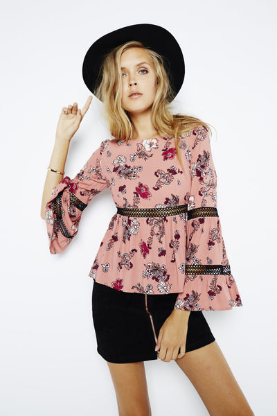 Mink Pink Fields of Dreams Flared Sleeve Top