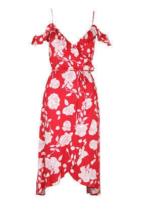 MinkPink X Disney Rose Midi Enchanted Wrap Dress