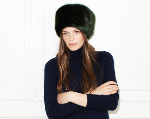 Helen Moore Jet Faux Fur PillBox Hat