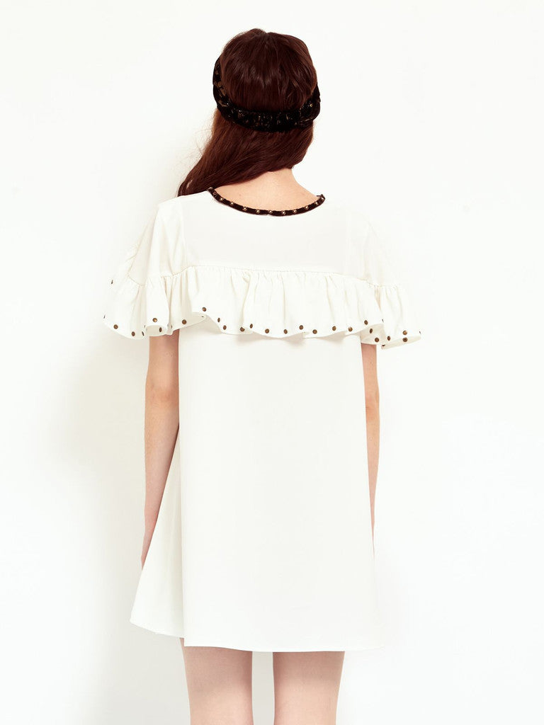 Sister Jane White Chalk Ruffle dress