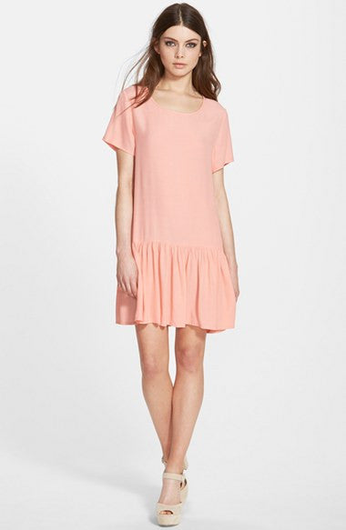 Mink PInk Drop Waist Zip Back Tee Dress