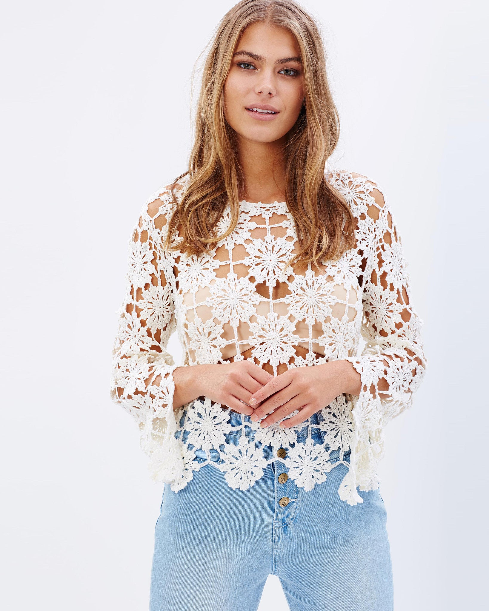 Minkpink Build Me Up Crochet Top
