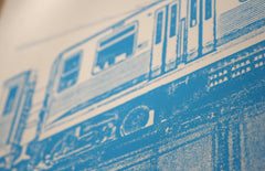 chicago blue line print close up