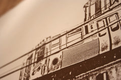chicago brown line print close up