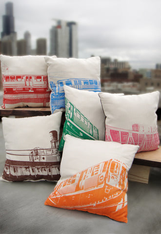 set of 6 chicago L pillows