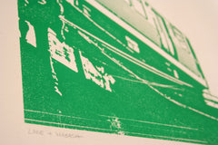 chicago green line print close up
