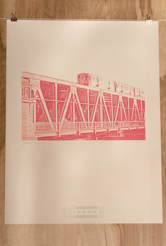 chicago pink line print