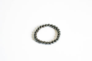 Hematite Beaded Crystal Bracelet
