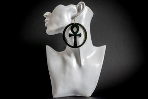 Article Wear Large Wooden Ankh Circle Earrings