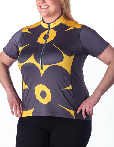 Beth Short Sleeve Cycling Jersey, Modern Flower