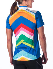 Beth Short Sleeve Cycling Jersey, Rainbow Chevron