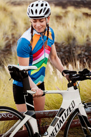Womens Short Sleeve Cycling Jersey Rainbow Chevron