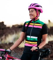 Short Sleeve Womens Cycling jersey - striped