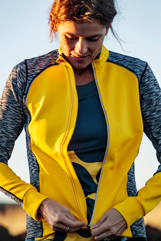 womens cycling jacket yellow