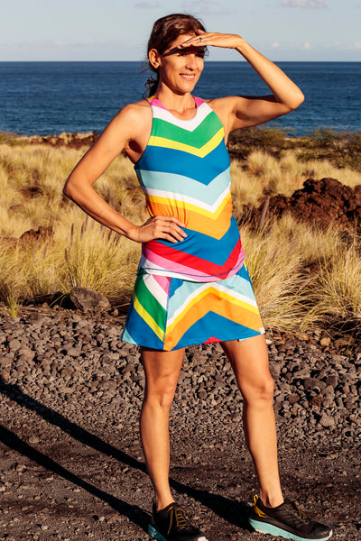 Womens Sport and Cycling Skirt - Rainbow Chevron