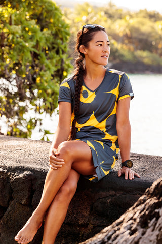 Womens Sports and Cycling Dress Grey Yellow Flower