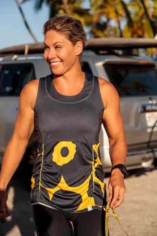 Womens Cycling Tank Top Gray and Yellow