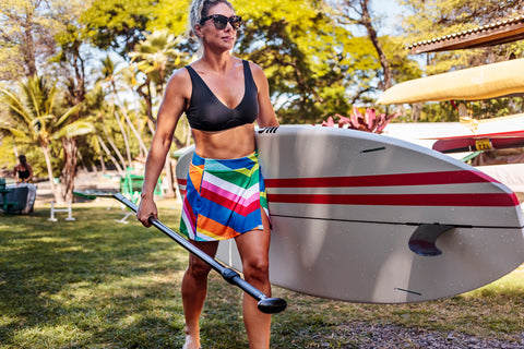 Lisa Active Wrap Skirt, Rainbow Chevron