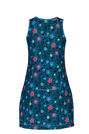 Melanie Active Sleeveless Sports Dress in Blue Daisy
