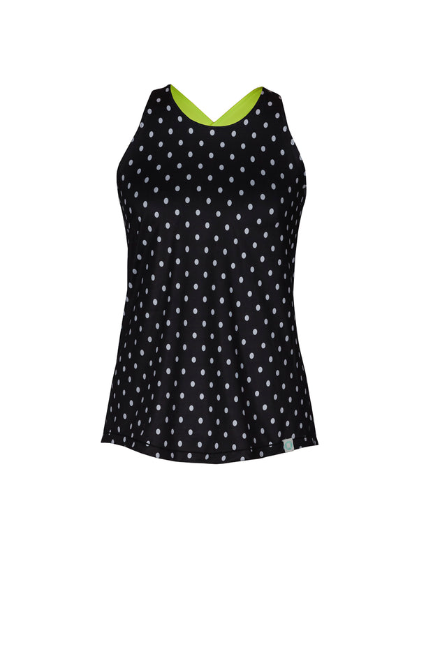 Maggie Women's Performance Tank Top, Black Dots 1