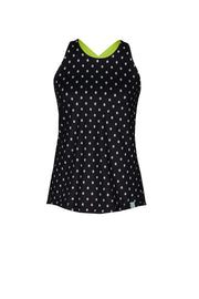 Maggie Women's Performance Tank Top, Black Dots
