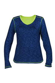 Courtney Women's Long-Sleeved Cycling Jersey, Navy/Lime