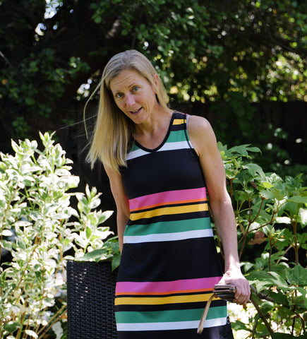 Melanie Active Sleeveless Sports Dress in Candy Stripe